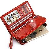 Buvelife Women Rfid Blocking Credit Card Wallet Purse Vintage Wristlet Leather Wallet Large Capacity (F0-Red)