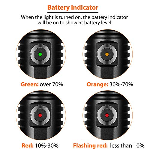 ORCATORCH D530 Scuba Dive Light, 1300 Lumens, 8 Degrees Narrow Beam Angle, Titanium Alloy Side Button Switch, 2 Lighting Modes, with USB Battery, Battery Indicator, for Underwater 150 Meters Diving