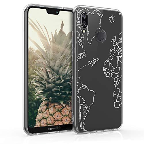 kwmobile Cover Compatibile con Huawei P20 Lite - Custodia in Silicone TPU - Backcover Protettiva Cellulare Travel & Explore Bianco/Trasparente