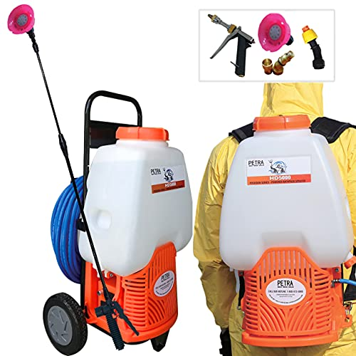 PetraTools Powered Backpack Sprayer with Custom Fitted Cart and 100 Foot Commercial Hose, 2 Hoses Included, Commercial Quality Heavy Duty Sprayer (6.5 Gallon Cart Sprayer)