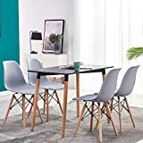 <span class='highlight'>Huisen</span> <span class='highlight'>Furniture</span> Grey Wood Dining Table and Retro Chairs Set for 4 Small Space 5 Pieces Kitchen Black Wooden Dining Table and 4 Plastic Chairs Office Conversational Set