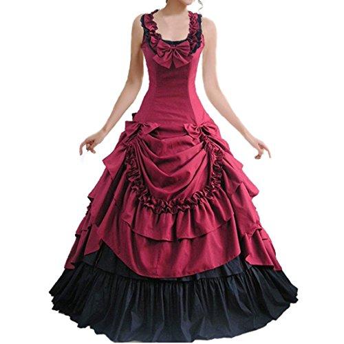 Partiss Damen ärmellose Ballkleid gotische Lolita Abendkleid mit Bowknot für die Hochzeit(XL,Wine red)