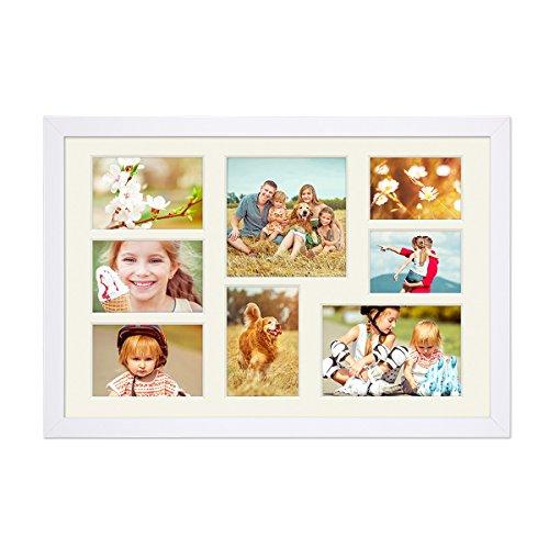PHOTOLINI Fotocollage-Bilderrahmen 30x45 cm Modern Weiss Collagerahmen Bildergalerie-Rahmen für 8 Bilder Wechselrahmen mit Passepartout