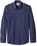Amazon Essentials Men's Slim-Fit Long-Sleeve Casual Poplin Shirt, Navy Windowpane, Medium