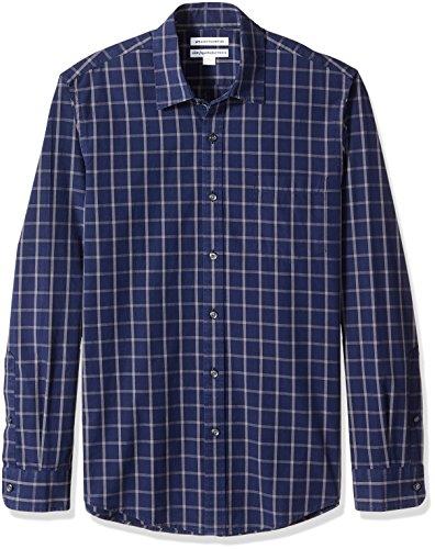 Amazon Essentials - Camisa informal de popelín de manga larga de corte entallado para hombre, azul marino, (Navy Windowpane), US S (EU S)