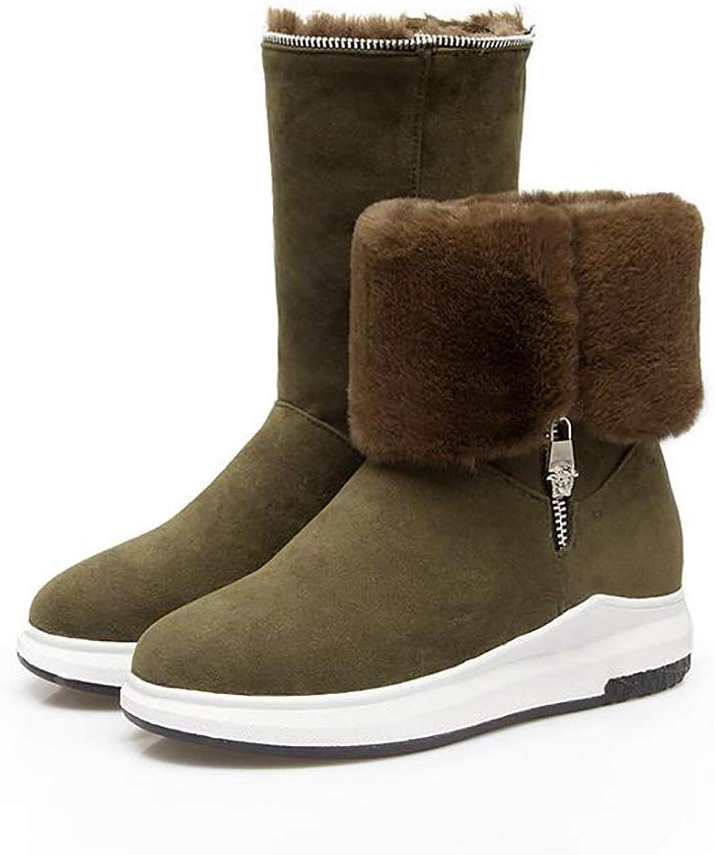 Winter Warm Snow Boot Matte PU Plush Lining Women Short Boots,Green,38