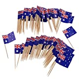 NIDONE 100 stücke Wegwerf Zahnstocher Flagge Dekoration & Papier Australien Flagge Picks Mini Frucht Cocktail Essen Zahnstocher Sticks Flagge