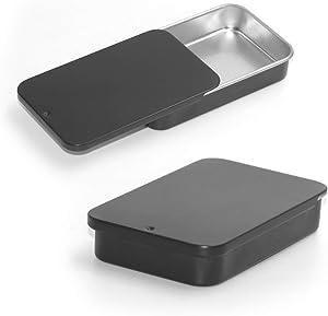 6 Pack Metal Rectangular Sliding Lid Tin Boxes Black, Containers Portable Box Small Storage Kit Home Organizer, Model 805015