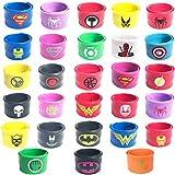 Hizoop 28 Pack Superhero Slap Bands Bracelet pour Les Enfants Garçons et Filles Articles de fête d'anniversaire Faveurs