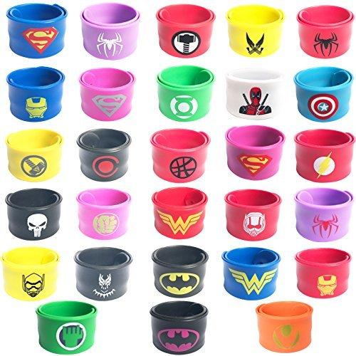 Paquete de 28 Pulseras de Vendas de superhéroe para niños Regalo de Fiesta de cumpleaños para niños y niñas favores