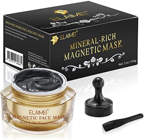 ALIVER Magnetic Gold Maske Mineralreiche Gesichtsmaske Porenreinigung Entfernt Hautunreinheiten mit auf Eisen basierender Haut Revitalisierende Anti-Aging Maske für Männer und Frauen 50ml