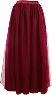 Lisong Women's Long Floor Length Layered Tulle Prom Party Skirt