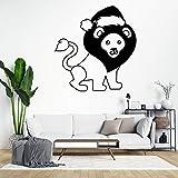 Pegatinas de pared motivacionales de león con sombrero de Papá Noel, color negro con frases divertidas para decorar ventanas de casa, oficina, recámara o tienda, pegatinas de pared inspiradoras...