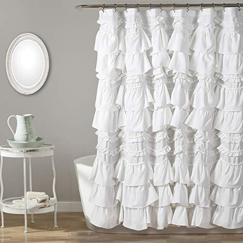 Lush Decor, White Kemmy Shower Curtain, 72u0022 x 72u0022