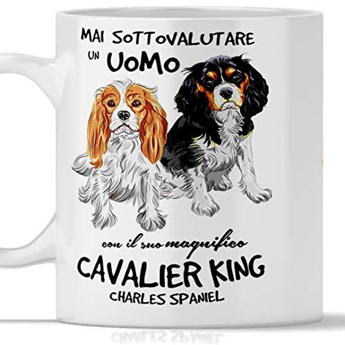 Taza de desayuno para hombre, ideal para desayuno, té, tisana, café, capuchino, gadget, taza nunca subestimar un hombre con un perro Cavalier King. Idea de regalo original