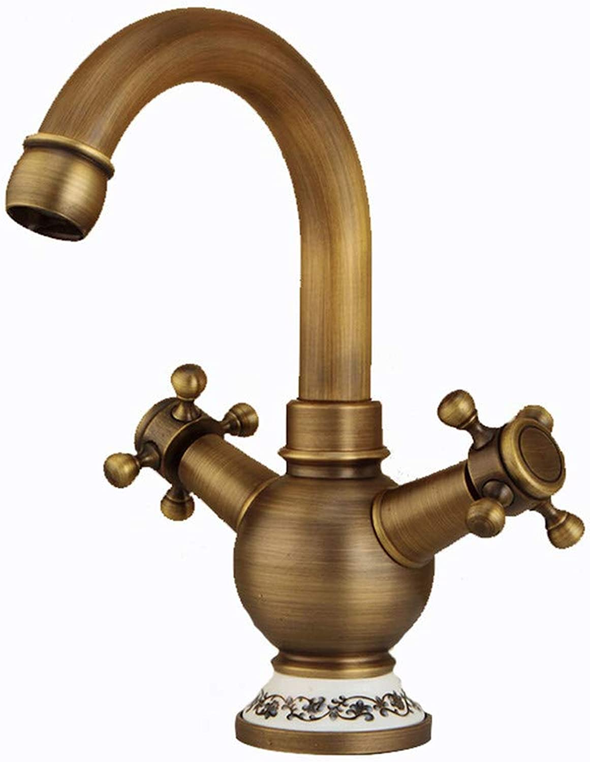 Copper antique faucet European hotel basin faucet single handle single hole above counter basin hot and cold water mixer
