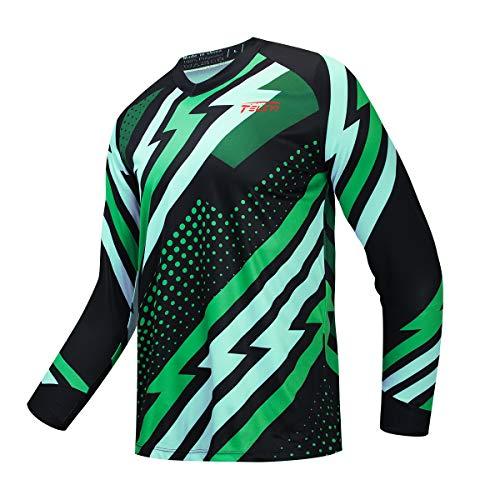 JPOJPO Hombres Ciclismo Jersey MTB camiseta manga larga juventud Off-Road motocicleta Jersey Bicicletas ropa Anti-UV - - Medium