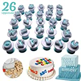 Techson 26 PCS Capital Letter Cookies Cutter, Mini Plastic Alphabet Fondant Cake Biscuit