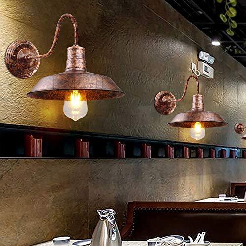 iDEGU 2 Pezzi Applique da Parete Vintage Industriale, 26 cm Lampada da Parete Interni E27 Lampada per Sala da Pranzo, Cucina, Ingresso, Veranda - Ruggine Rame