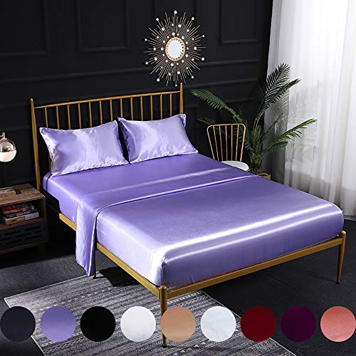 Omelas 3pcs Lavender Silky Satin Sheets Set Twin Size Soft Microfiber Solid Smooth Silky Bed Sheets Modern Luxurious Bedding Collection, 16' Deep Pocket Fitted Sheet,Purple Flat Sheet,1 Pillowcase
