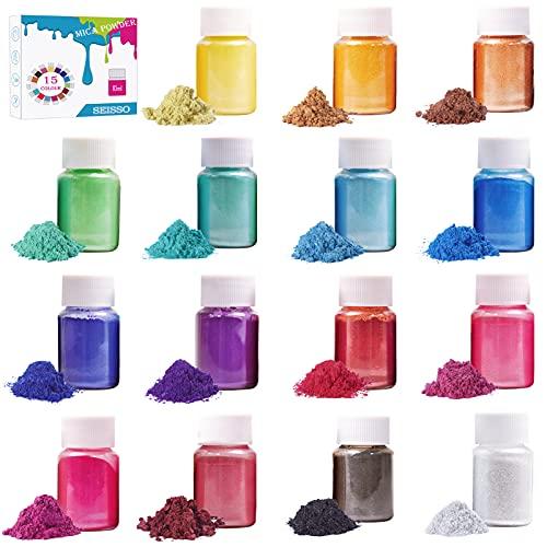 SEISSO 15 Colors Mica Powder for Epoxy Set- Natural Organic Powder Pigments- Epoxy Resin Dye- for DIY Slime Pigment, Adhesive Pigments, Bath Bomb Dyes, Soap Making Dye(10g/0.35oz Each Bottle)
