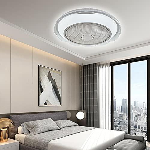 Lámpara de techo LED de 20 pulgadas, 3 velocidades de viento, temporizador, ventilador de acrílico redondo con iluminación + mando a distancia, ventilador de techo silencioso para salón o dormitorio