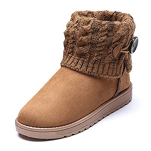 Summer Mae Damen Winterstiefel Gefüttert Warm Boots Strick, Gr.-EU 37--Asia Size 38,Kaffee