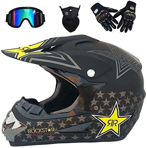 Full Face Motorcycle Helmet, adult Motocross Motorcycle Helmet MX ATV Scooter, with Goggles Gloves Mask,ECE Certification (XL)