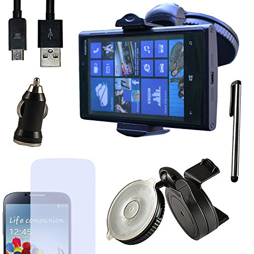 Eximmobile PREMIUM - Universal KFZ Halterung mit USB Ladekabel + Ladegerät + Folie + Stylus Pen für Nokia Lumia 625 als Navigation im Auto