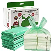 Baby Disposable Diaper Bags, 100% Biodegradable Diaper Sacks with Baby Powder Scent and Added Baking Soda to Absorb Odors ( 250 Count )