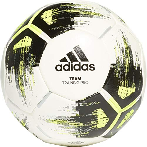adidas TEAM TrainingPr Soccer ball, Hombre, top:white/solar yellow/black/iron met. bottom:silver met., 5