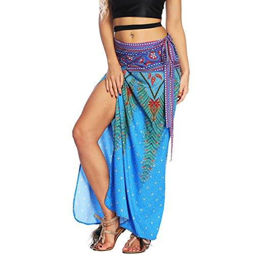 Nuofengkudu Mujer Falda Larga Hippie Gitana Amarra la Cintura Alta Boho Patrón De Estilo Tailandés Faldas de Playa Fiesta Casual Skirts Azul Pavo