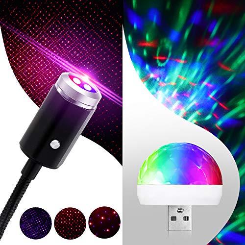 2 Pezzi Romantico Luci Automatiche del Proiettore Stella del Tetto USB Luce Notturna Mini Lampada Disco Lampada Palco Luce d'Atmosfera per Feste Compleanno Palcoscenico Decorazioni Discoteca Natale