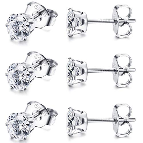 Sllaiss 3 Pair S925 Sterling Silver Stud Earrings Sets with Austrian Zirconia White Gold Plated 6 Prong Small Stud Earrings for Women 3mm