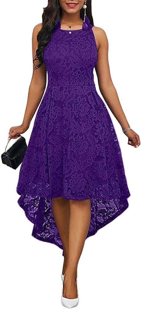 GLOA Women Maxi Dress, Solid Color Lace Round Neck Sleeveless Irregular Hem Wedding Midi Dress