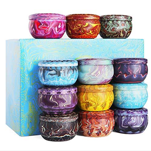 Soulpala 12 Duftkerzen Geschenk Set 100% Natürliche SojaWachs-Kerze 12 Verschiedene Aroma Kerzen für Aromatherapie, Massage, Stress Abzubaue, Duftkerzen für Weihnachten,Geburtstag, Muttertag