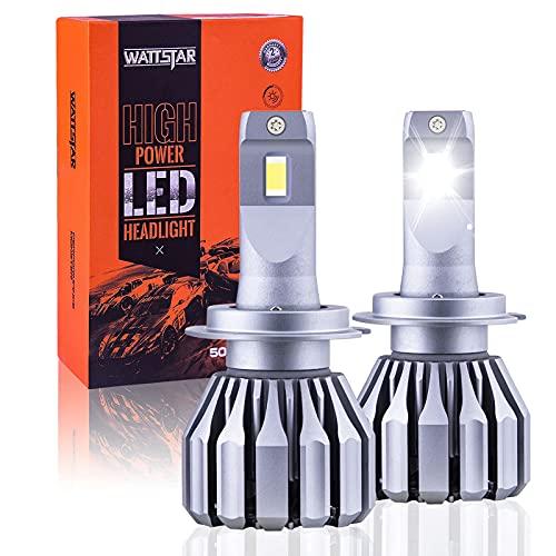 Wattstar H7 LED Headlight Bulbs Conversion Kit, 64W Super Bright Hi/Lo Beam Headlamp with Fan, IP68 Flip Chip 9600LM 6500K White 2-Pack