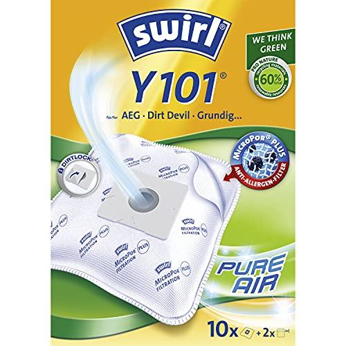 Swirl Y 101 MicroPor Plus Staubsaugerbeutel für AEG, Dirt Devil, Grundig Staubsauger, Anti-Allergen-Filter, 10 Stück inkl. 2 Filter