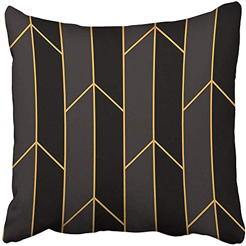 Decorative Throw Pillow Covers Cases Abstract Pattern Gold Straight Lines Artdeco Beauty Black Elegance Elegant Gatsby Geometric 20x20 Inches Pillowcases Case Cover Cushion Two Sided