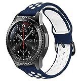 MroTech Cinturino 22mm Compatibile per Samsung Galaxy Watch 46mm/Gear S3 Frontier/Classic/Huawei Watch 2 Classic/GT Active Elegant/GT2 46 MM Smartwatch Banda di Ricambio 22 mm Silicone Band-Blu/bianco