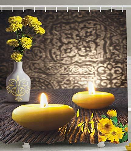 QAQ Starry sky decoratieve kaarsen witte vaas goudbloem houten tafel Aziatische Japanse polyester badkamer douchegordijn