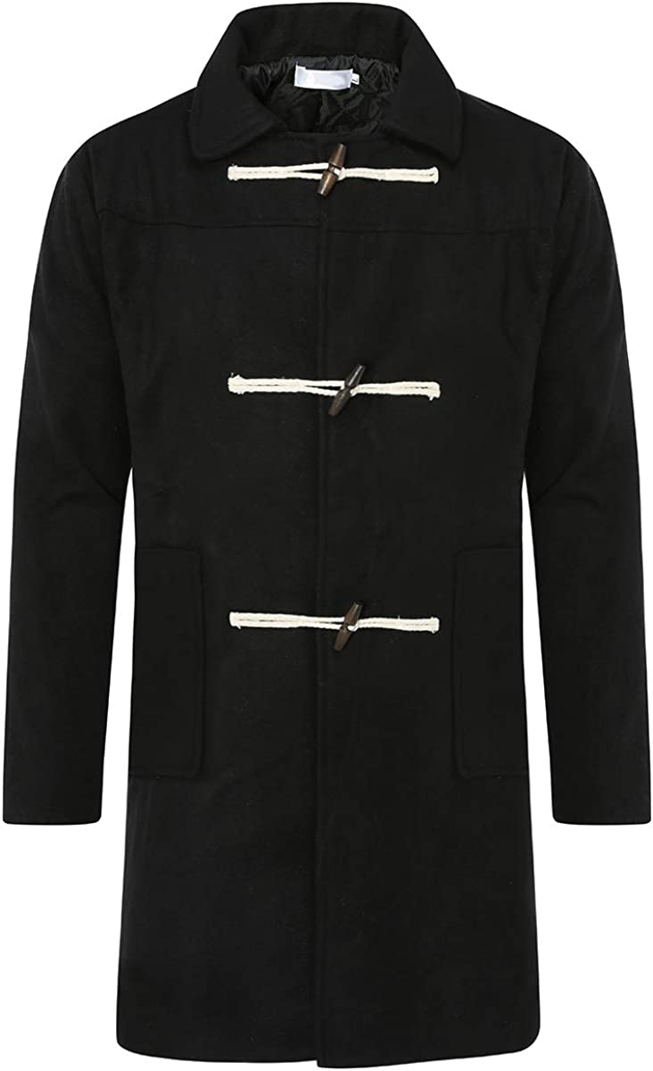 YFFUSHI Mens Wool Blend Trench Coat Toggle Quilted Lined Long Classic Winter Pea Coat