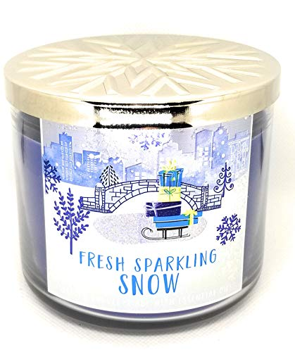Bath and Body Works 3 Wick Scented Candle Fresh Sparkling Snow 14.5 Ounce