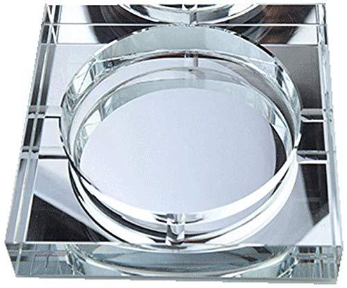 Dliso4 7,8 Pulgadas de Mesa Cenicero Cuadrado Personalidad Regalo de Cristal Cenicero de Cristal Cenicero de Moda práctica Grande Boutique Cenicero de Oro Grande (Color : Clear)