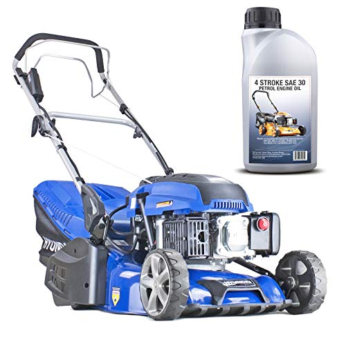 Hyundai HYM430SPER Self Propelled 17' 43cm 430mm 139cc Electric Start Petrol Roller Lawn Mower-Includes 600ml Engine Oil, Blue
