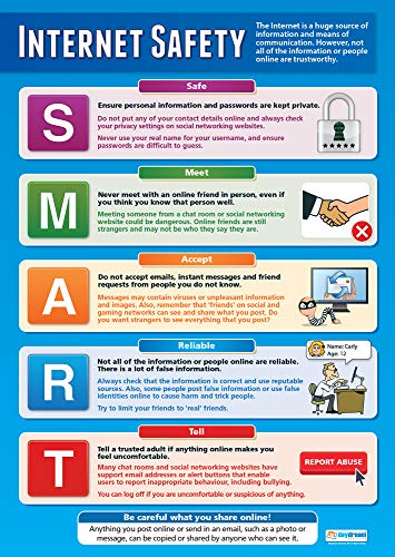 Internet Safety   Technology and Computing Posters   Laminated Gloss Paper Measuring 33� x 23.5�   ICT Charts for The Classroom   Education Charts by Daydream Education
