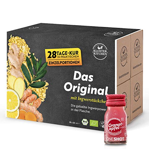 Kloster Kitchen Bio GranatapfelTRINK Shot 30ml, Granatapfel Ingwer Shot in Glasflaschen, mit echten Ingwerstückchen, bio und vegan (28er Pack (28x30ml))