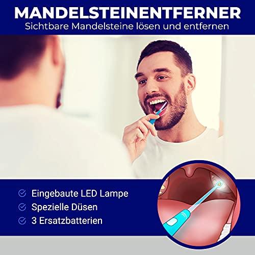 Tonsillensteinentferner-Set | Zur Entfernung und Verhinderung von Mandelsteinen | Gegen Mundgeruch | Lindert Halsschmerzen | Spritze, Tonsillenstein entferner mit LED-Licht und Zungenreiniger | ORALI - 4