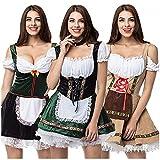 Dasongff Mini-Robe Tavern Maid Dress Femme Oktoberfest Costume Robe de Bière Bavaroise Robe Renaissance Médiévale Serveuse Cosplay Costume Bartender pour Carnaval Halloween Mascarade