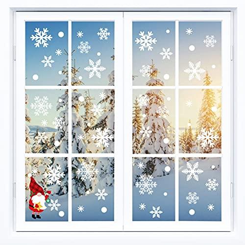 JOOLESER Decoración Navidad Ventanas, 116 Pegatinas Copos de Nieve, Adornos Accesorios Navideña para Escaparates Casa Hogar Cristales, Vinilos Adhesivos de Papá Noel y Navideños para Arbol